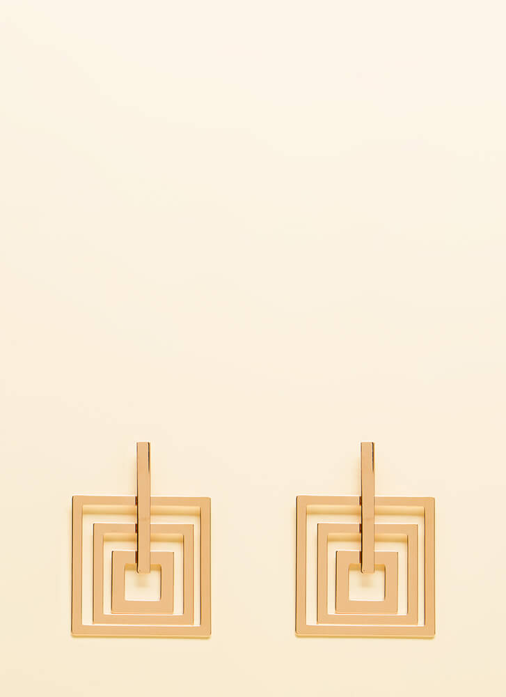 Squared And Cubed Cut-Out Earrings ROSEGOLD