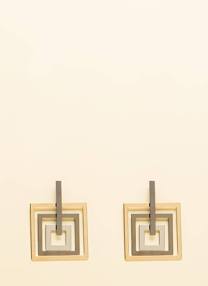 Squared And Cubed Cut-Out Earrings SILVER