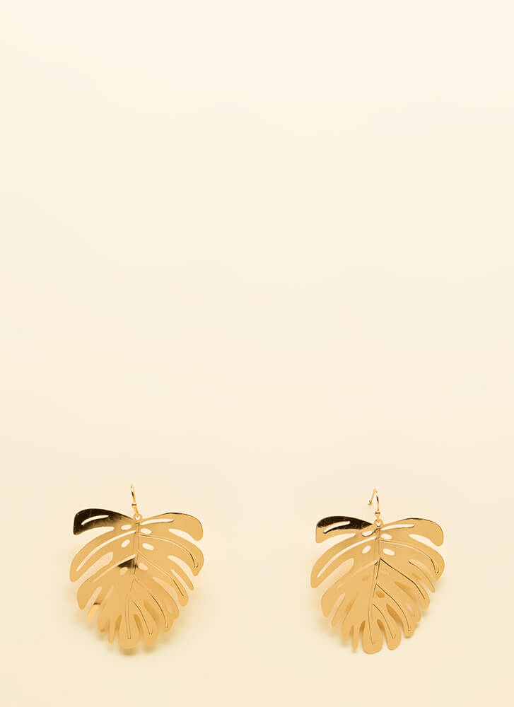 Keep Palm And Carry On Leaf Earrings GOLD
