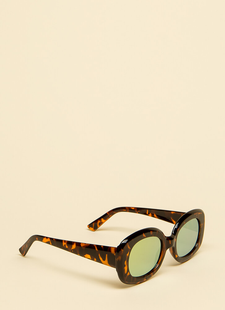 Big Screen Thick-Rimmed Sunglasses BROWNYELLOW