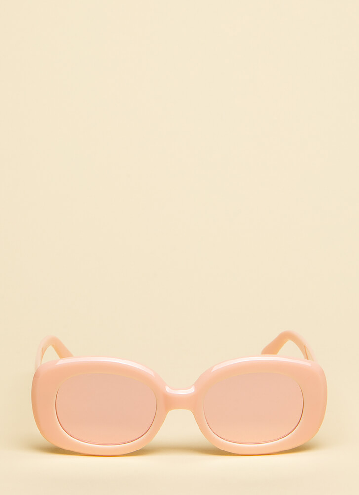 Big Screen Thick-Rimmed Sunglasses PINK