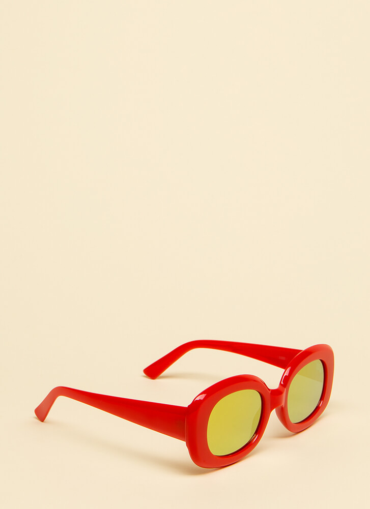Big Screen Thick-Rimmed Sunglasses RED