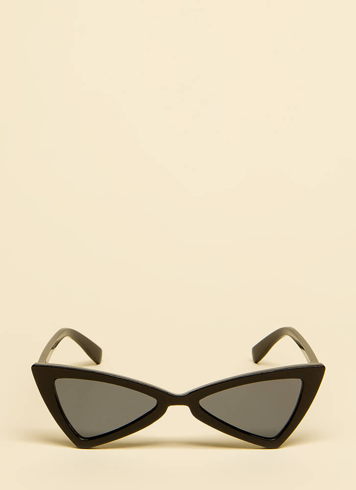 Picture Show Flared Cat-Eye Sunglasses BLACK
