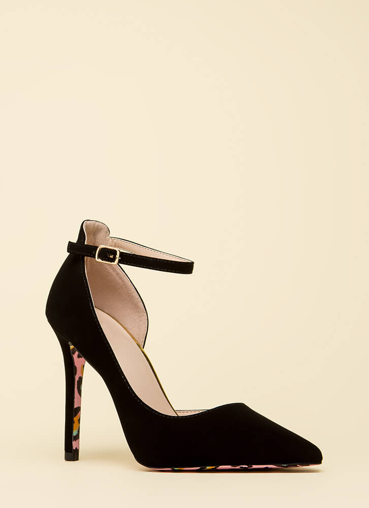 Wild Side Pointy Ankle Strap Heels BLACK