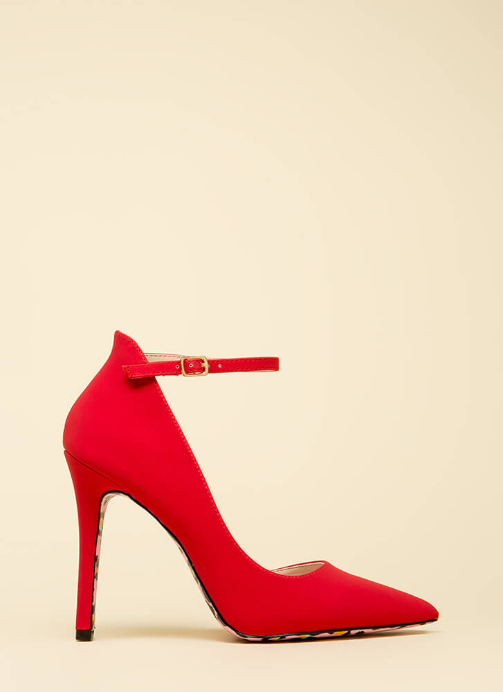 Wild Side Pointy Ankle Strap Heels RED