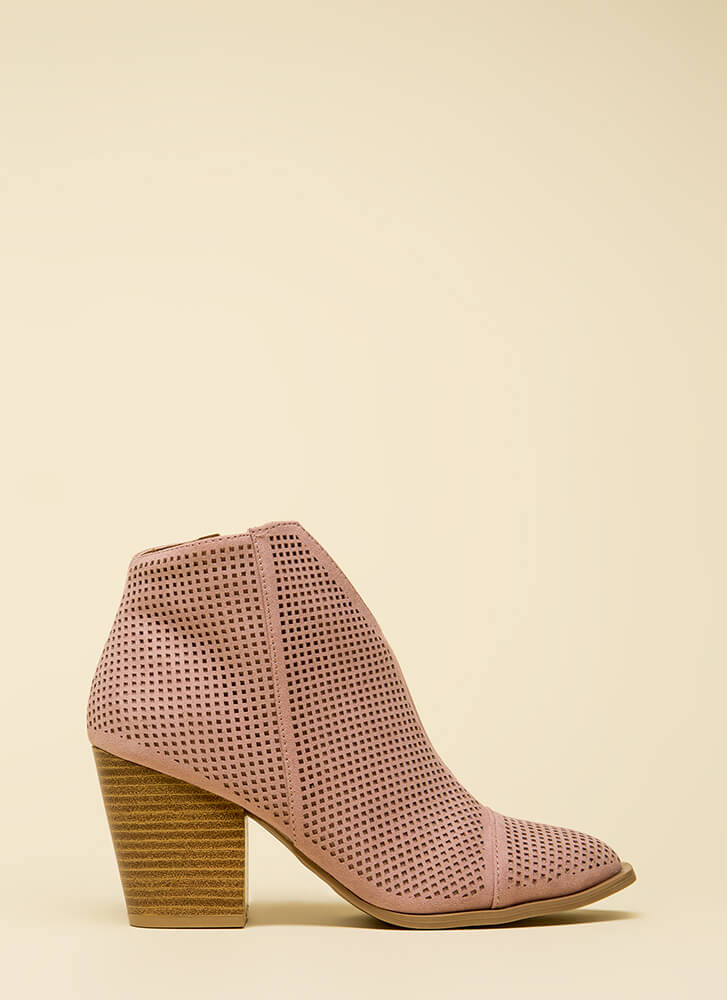 Net Worth Notched Chunky Booties DESERTROSE