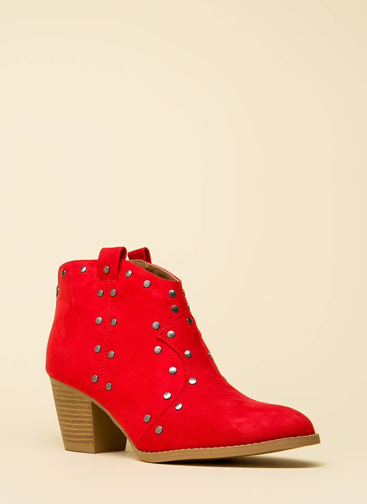 Western Sky Studded Cowgirl Booties RED