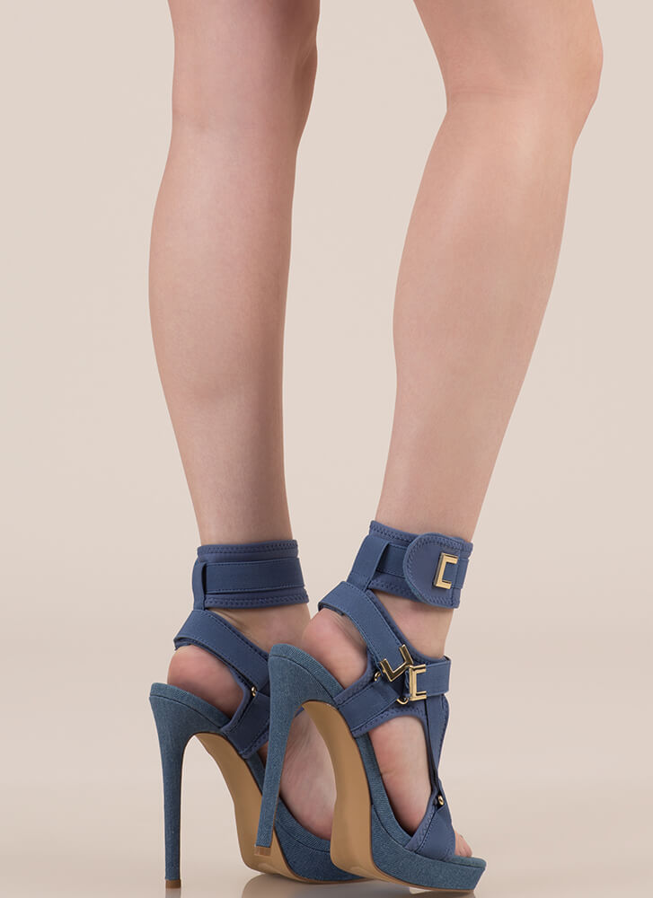 Hold On Tight Strappy Harness Platforms BLUE