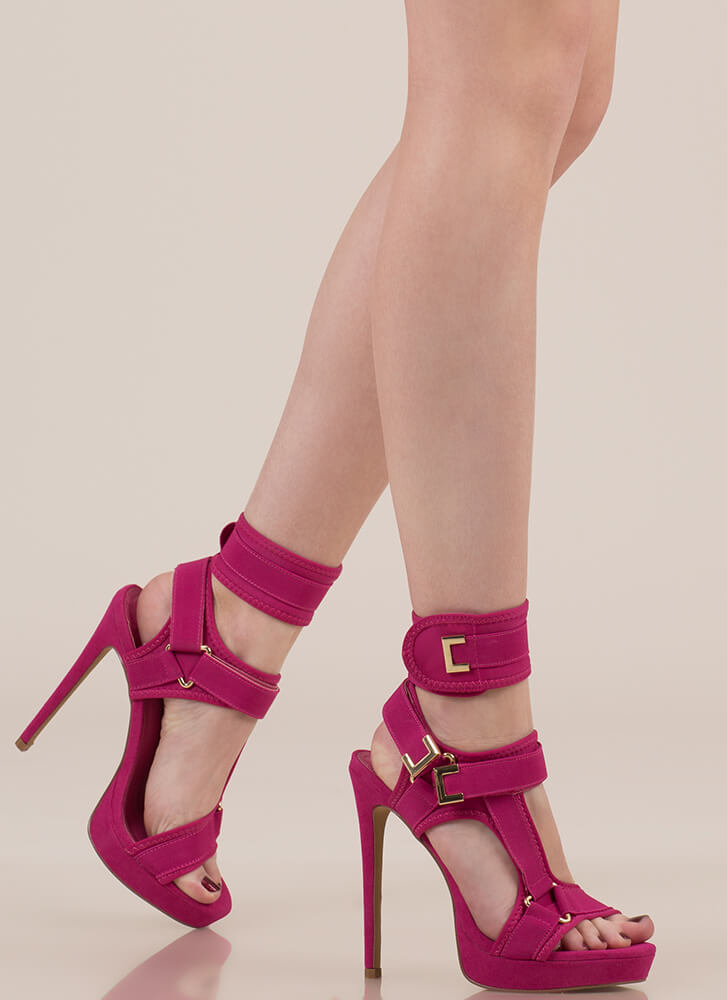 Hold On Tight Strappy Harness Platforms FUCHSIA
