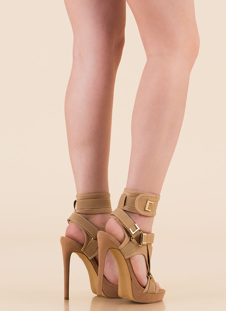 Hold On Tight Strappy Harness Platforms TAUPE