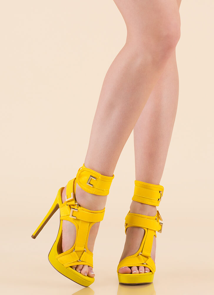 Hold On Tight Strappy Harness Platforms YELLOW