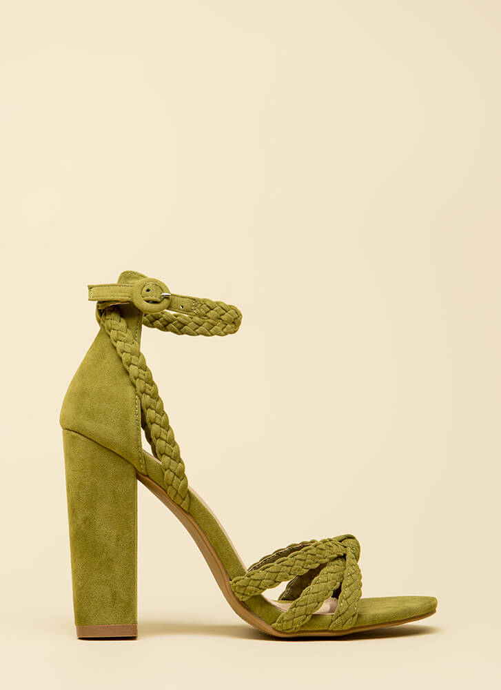 Get Good Braids Chunky Woven Strap Heels OLIVE