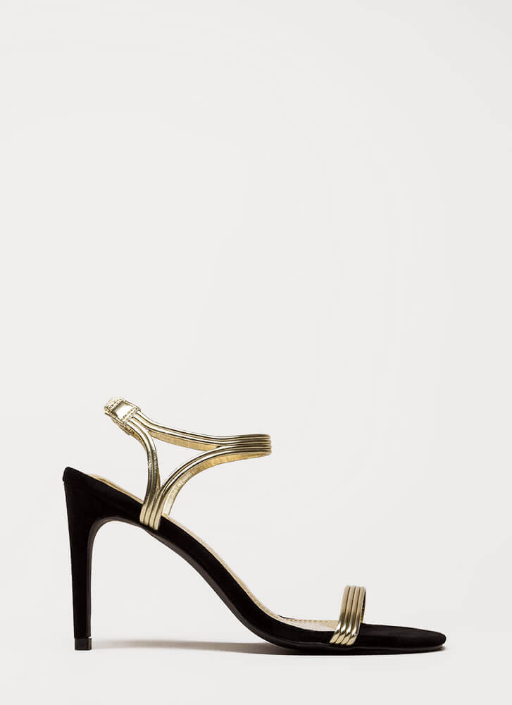 Hit All The Right Cords Strappy Heels GOLD