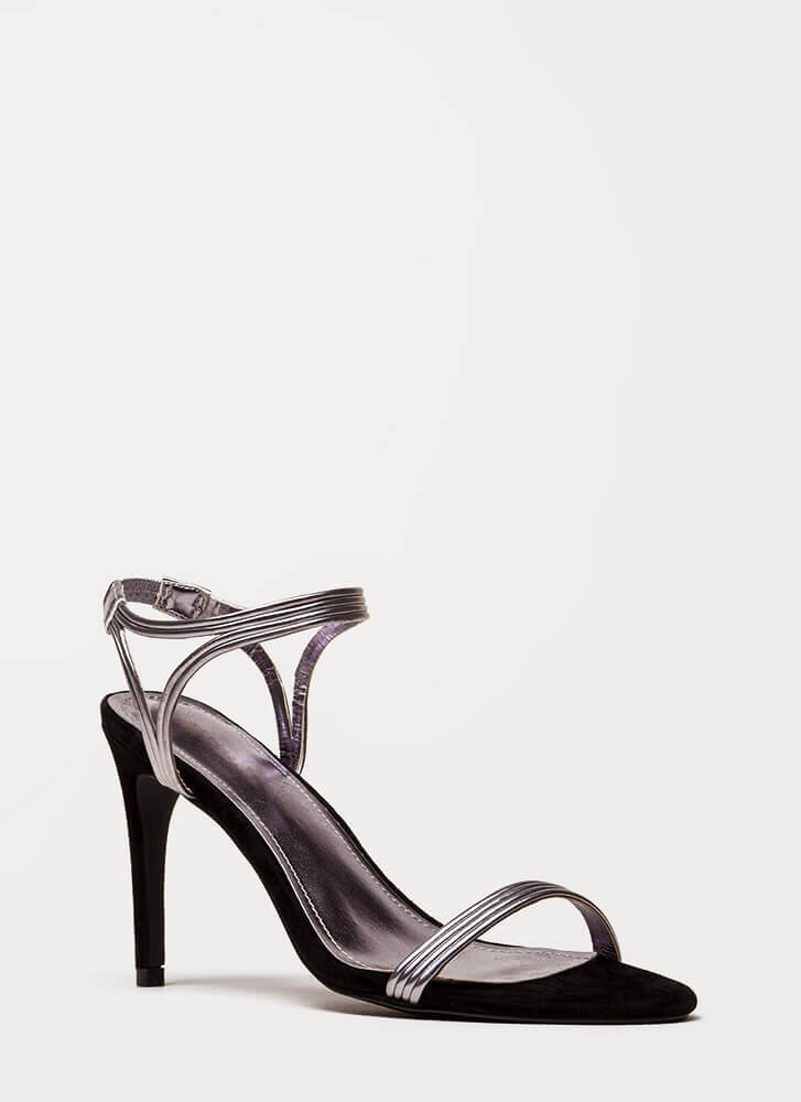 Hit All The Right Cords Strappy Heels PEWTER