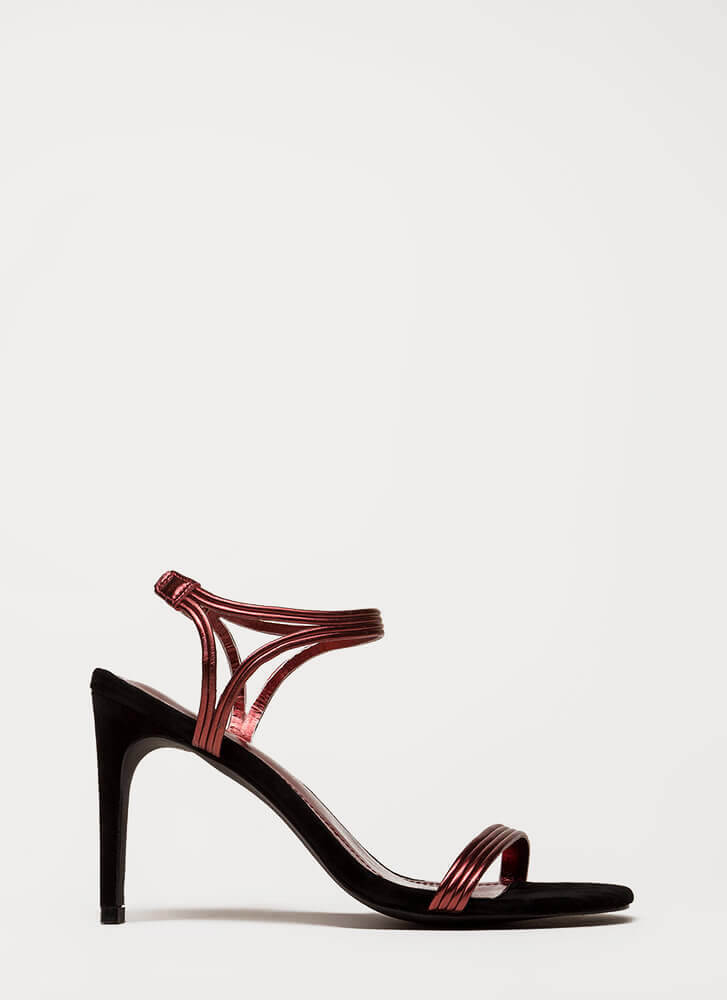 Hit All The Right Cords Strappy Heels RED