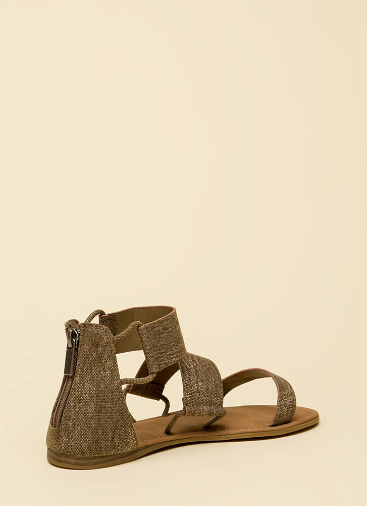 Stay In The Loops Faux Leather Sandals TAUPE (Final Sale)