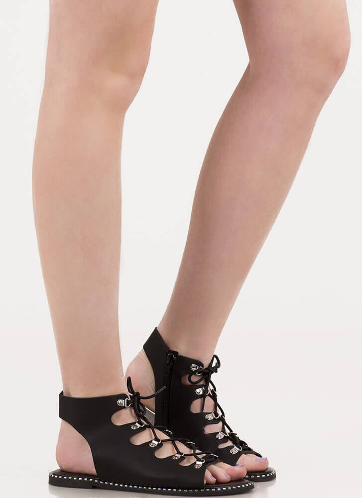 New Trek Cut-Out Lace-Up Sandals BLACK
