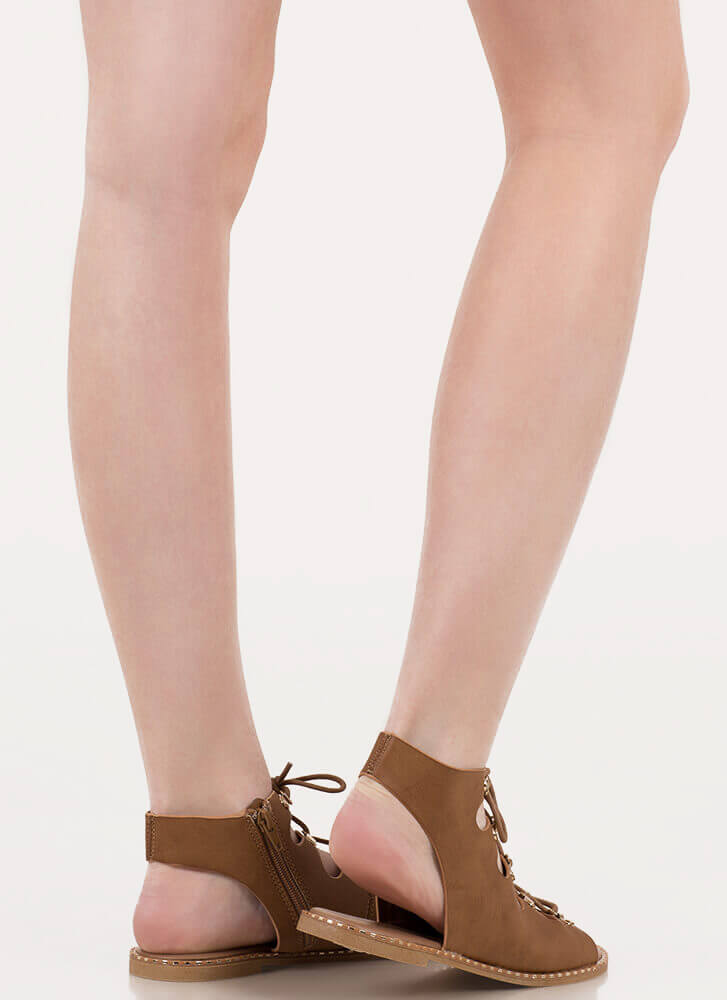 New Trek Cut-Out Lace-Up Sandals TAN