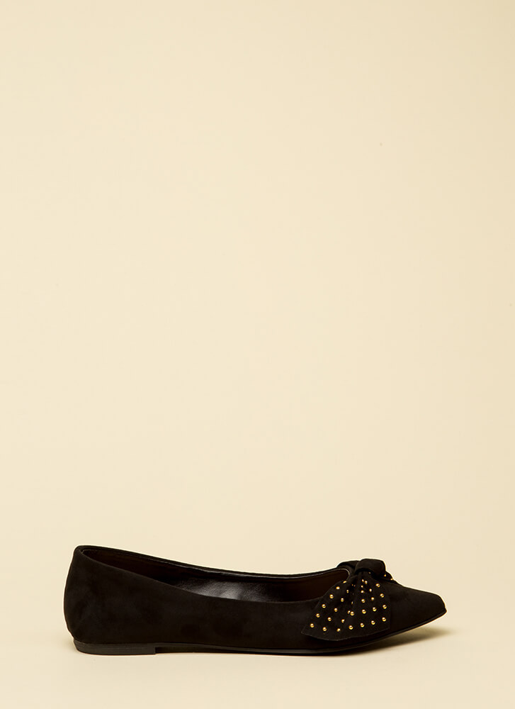 Bow-tiful Girl Pointy Studded Flats BLACK