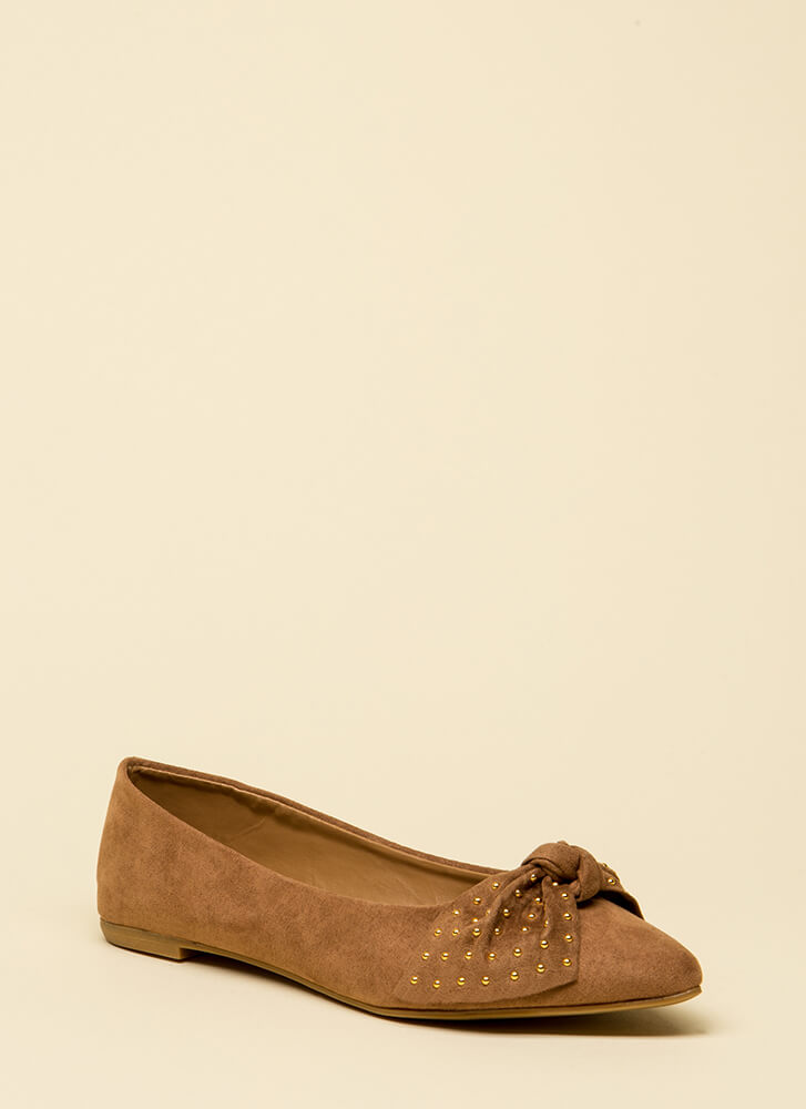 Bow-tiful Girl Pointy Studded Flats CAMEL