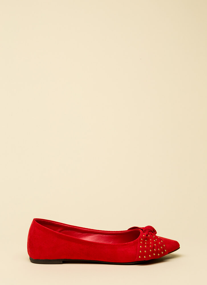 Bow-tiful Girl Pointy Studded Flats RED