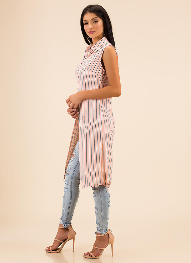 Long Time Striped Button-Up Blouse PINK (Final Sale)