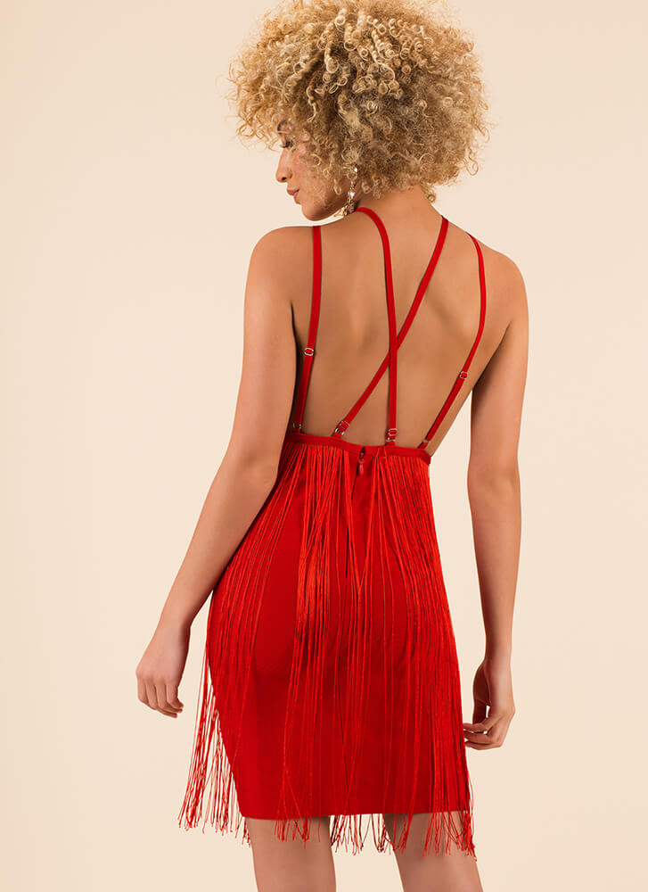 Famous Fringe Strappy Bandage Dress RED (Final Sale)