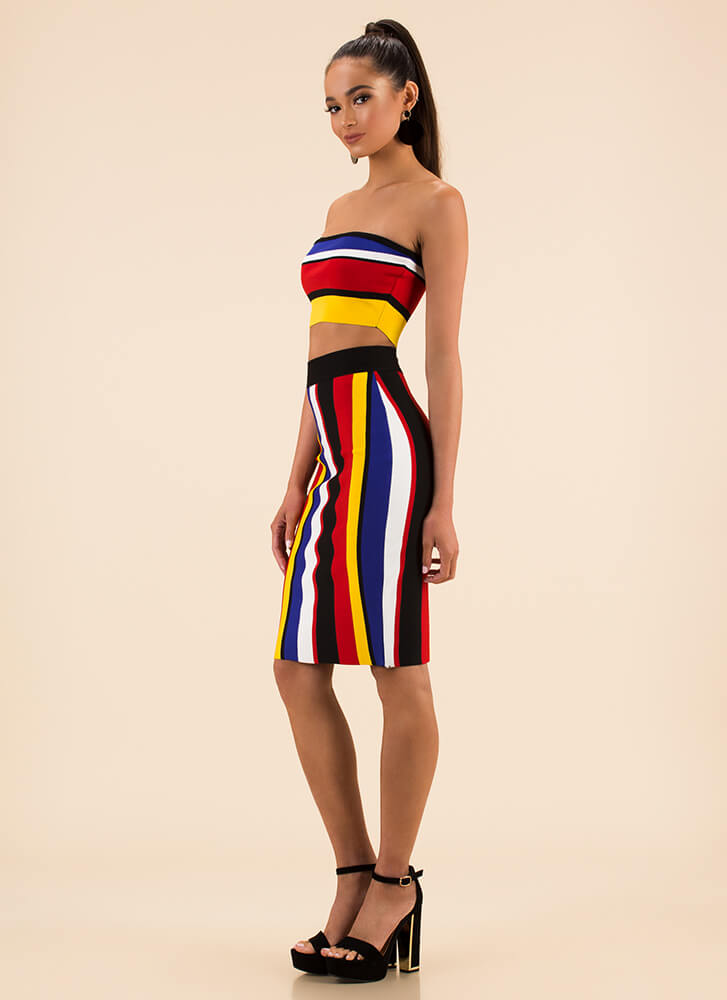 Color Combo Striped Top And Skirt Set MULTI
