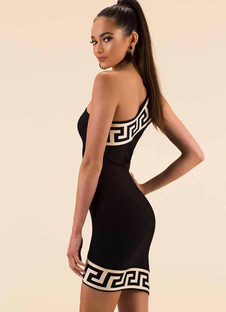 It's Greek Key To Me Asymmetrical Dress BLACK