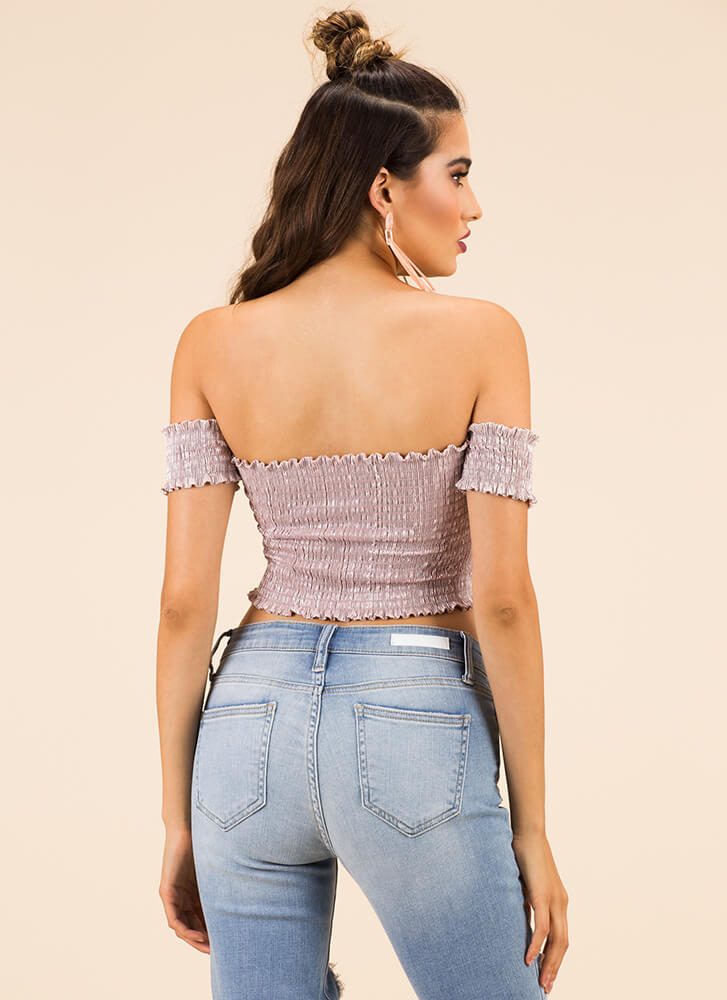 Something Sexy Off-Shoulder Crop Top PINK