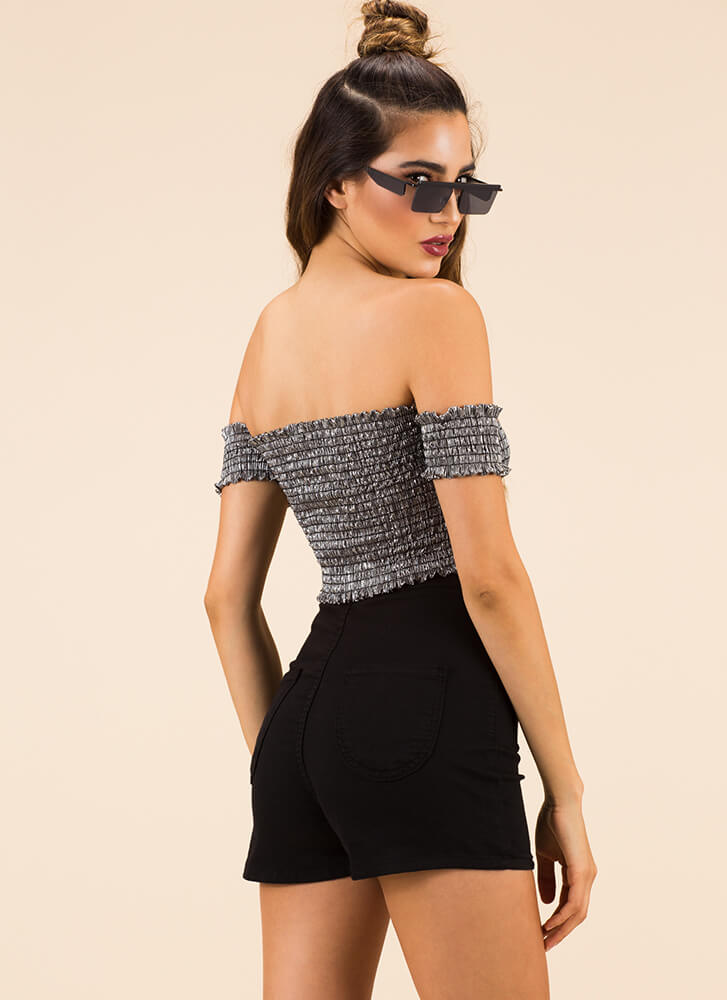 Something Sexy Off-Shoulder Crop Top SILVER