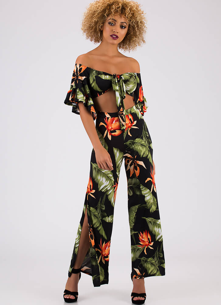 On Vacation Tropical Top And Pant Set BLACK