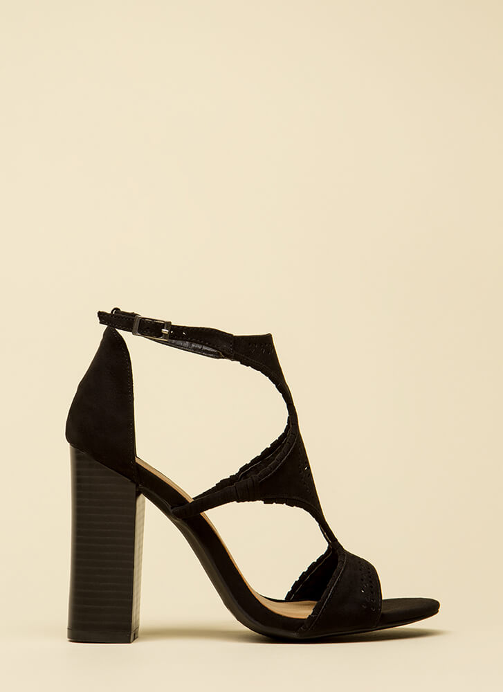Serious Style Chunky Faux Suede Heels BLACK