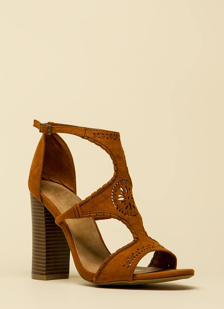 Serious Style Chunky Faux Suede Heels CHESTNUT