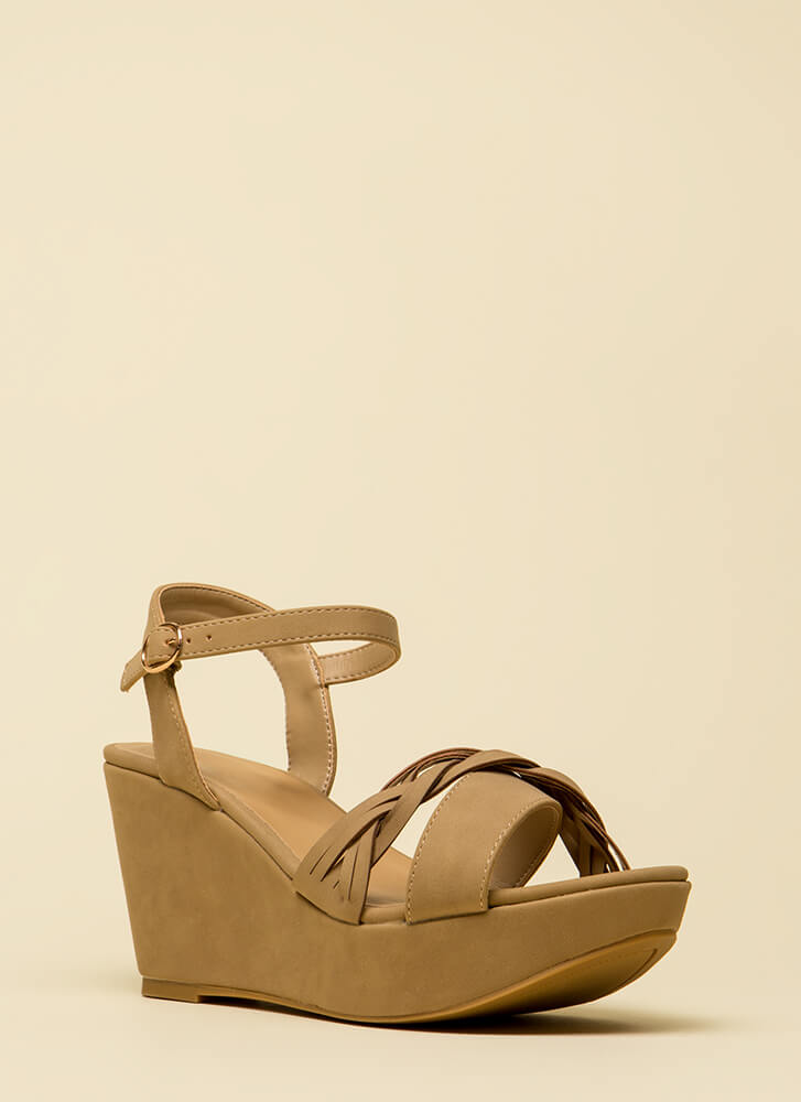 Braided Beauty Platform Wedges NATURAL (You Saved $18)