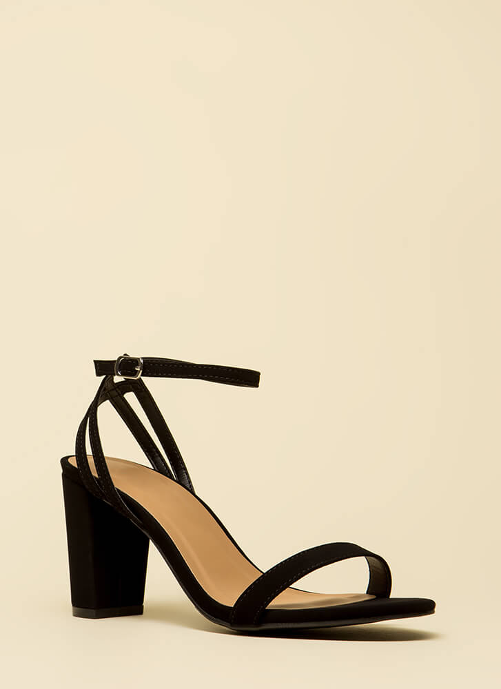 Sexy And Strappy Faux Nubuck Heels BLACK