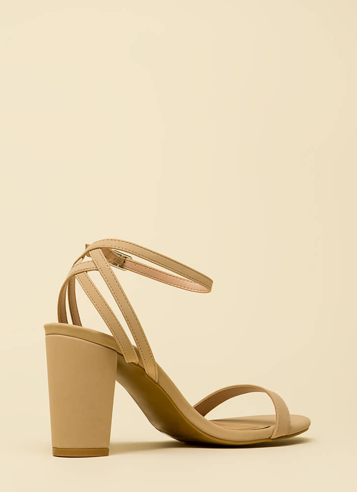 Sexy And Strappy Faux Nubuck Heels NUDE