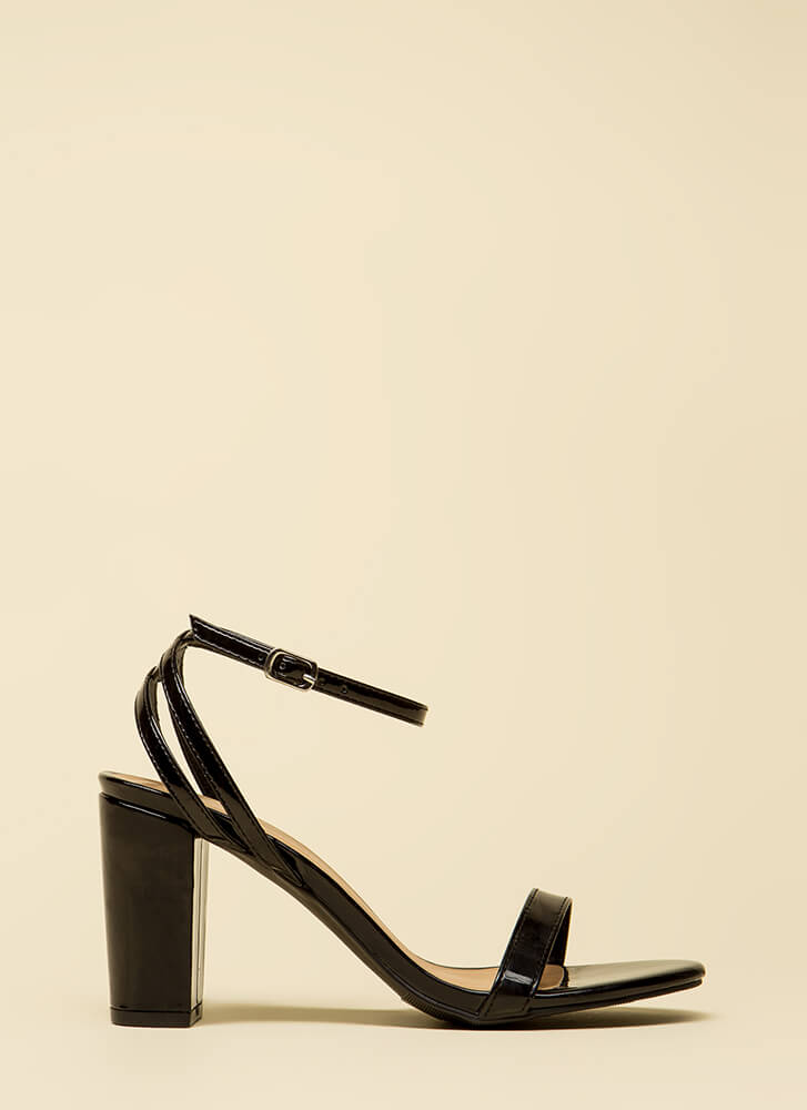 Sexy And Strappy Faux Patent Heels BLACK
