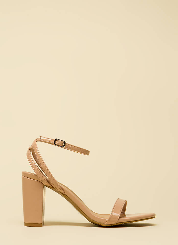 Sexy And Strappy Faux Patent Heels NUDE
