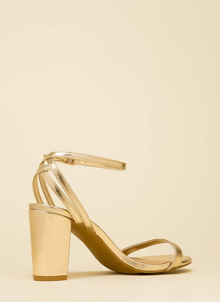 Sexy And Strappy Metallic Heels GOLD