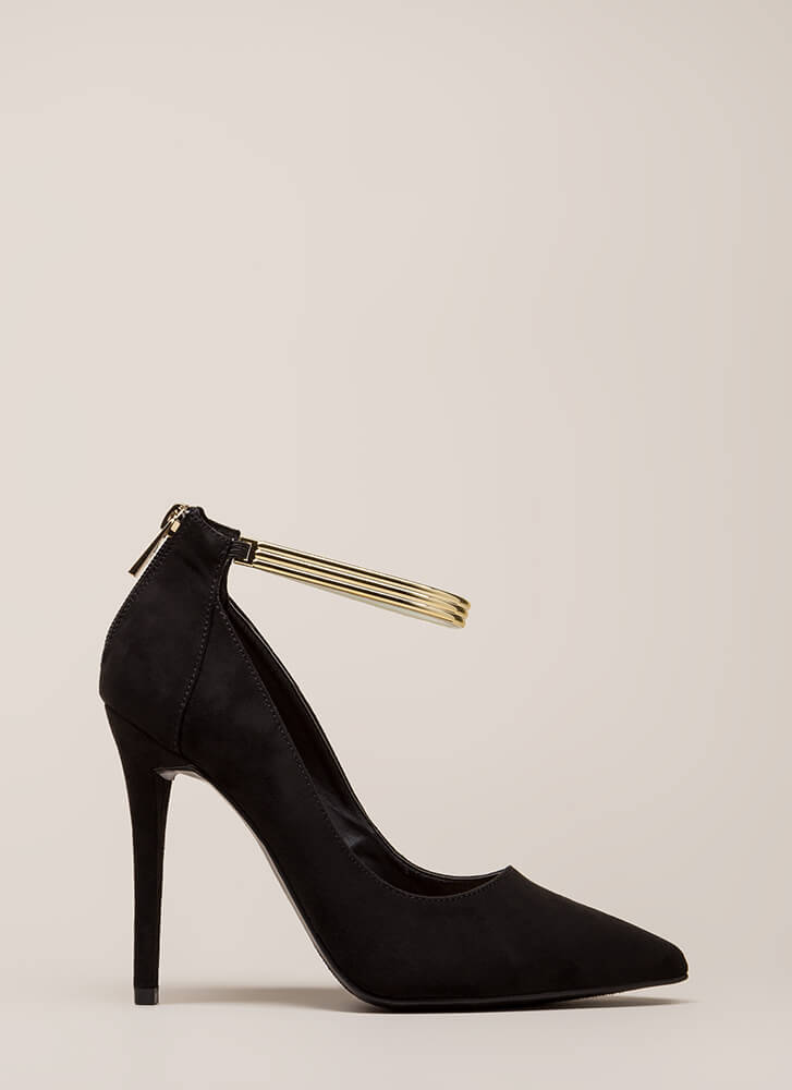 Halo Faux Suede Ankle Strap Pumps BLACK