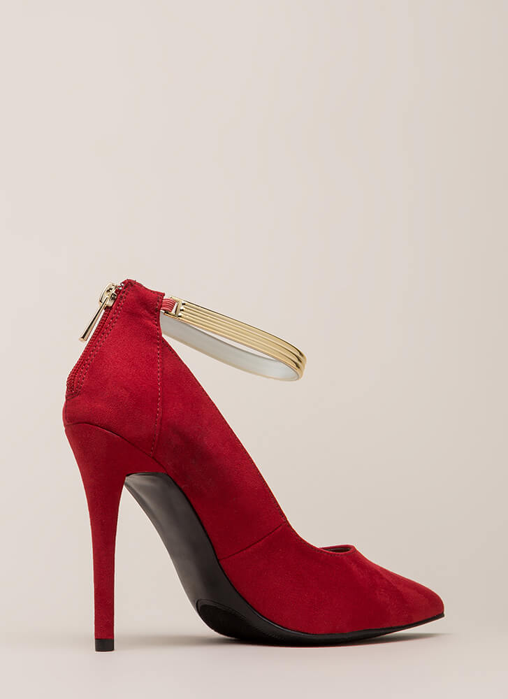 Halo Faux Suede Ankle Strap Pumps RED