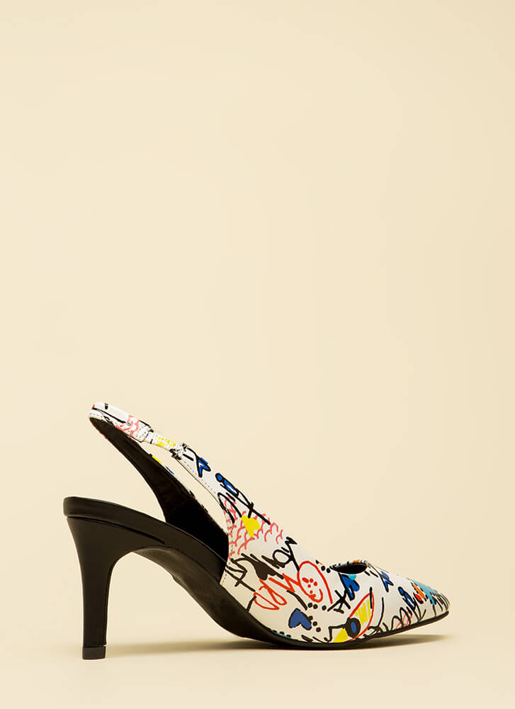 Draw Attention Pointy Slingback Heels WHITEMULTI