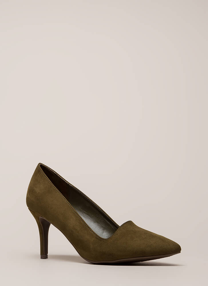 Short Interest Pointy Faux Suede Pumps by Go Jane