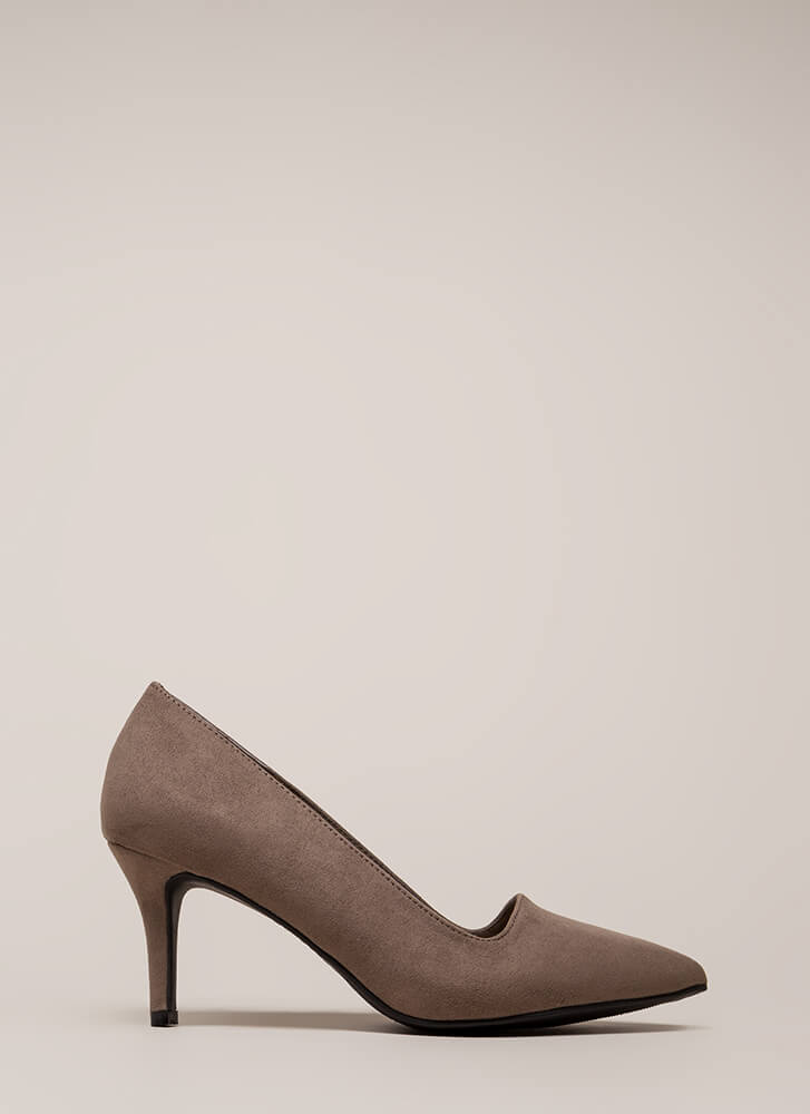 Short Interest Pointy Faux Suede Pumps TAUPE