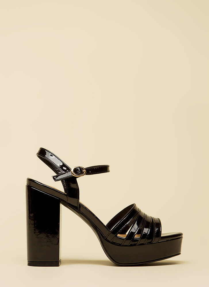 Just Four You Strappy Chunky Platforms BLACK
