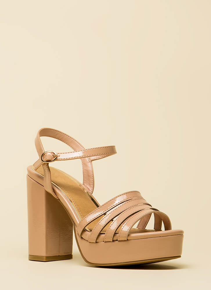 Just Four You Strappy Chunky Platforms NUDE