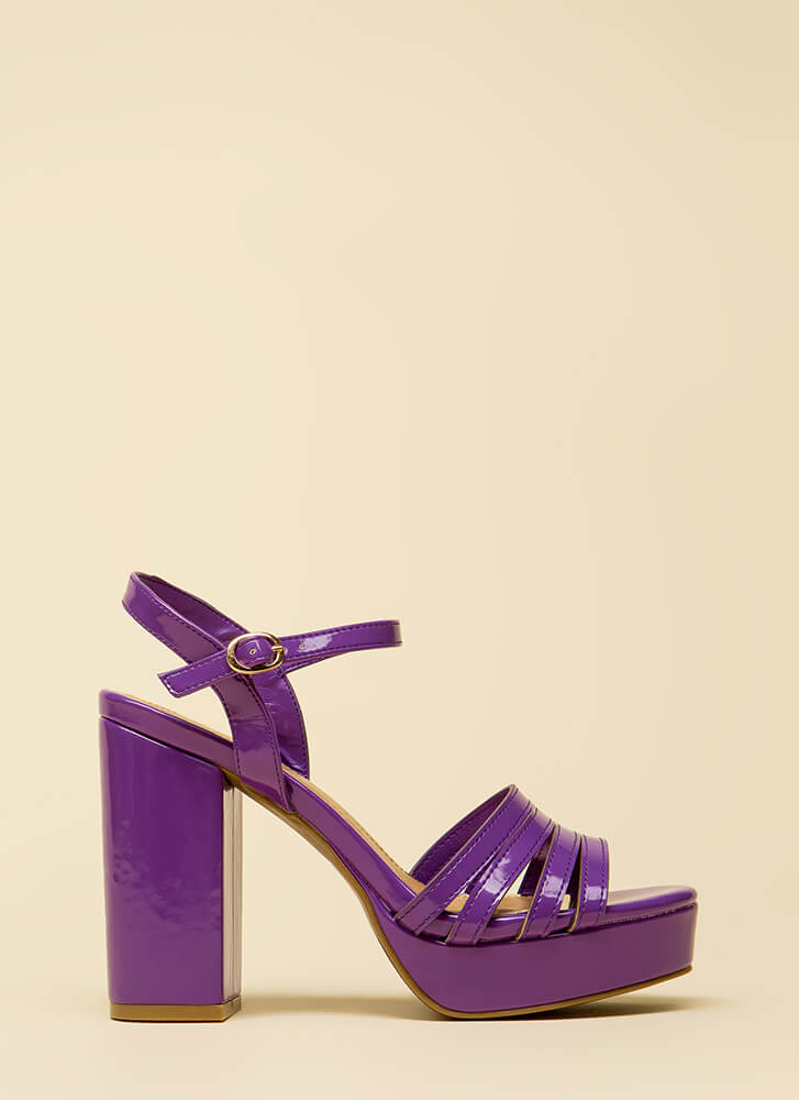 Just Four You Strappy Chunky Platforms PURPLE
