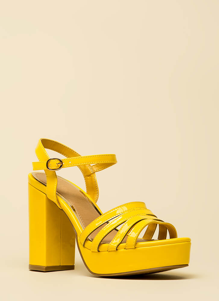 Just Four You Strappy Chunky Platforms YELLOW