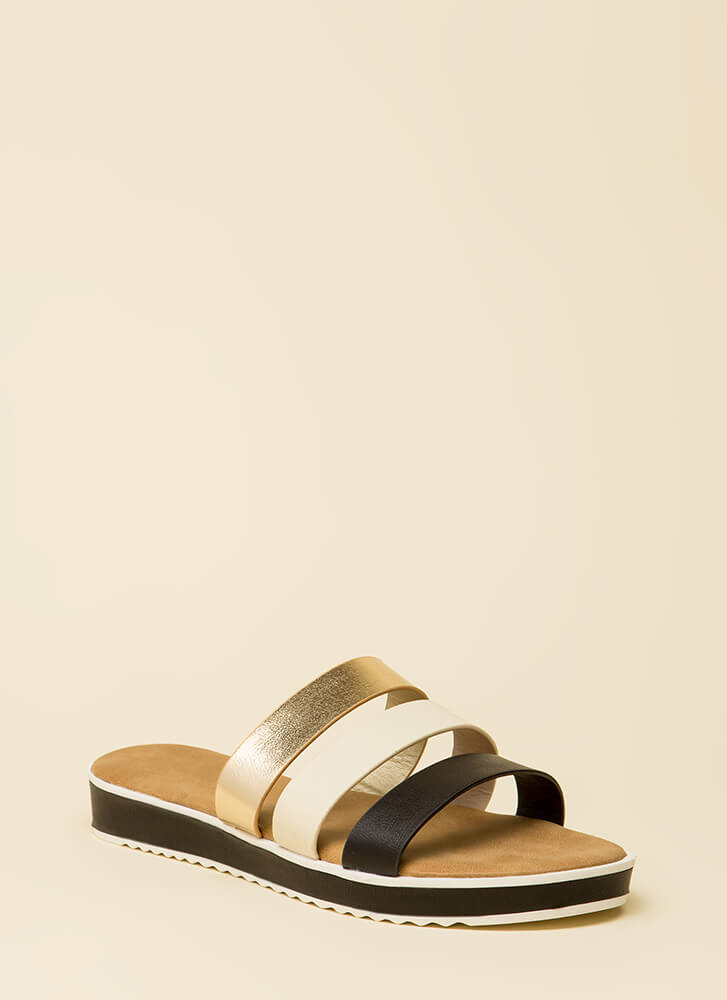 3 Straps And You're Out Platform Sandals BLACKMULTI